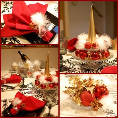 赤とゴールドのクリスマステーブル