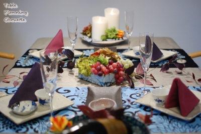 手ぬぐいと和食器のテーブルコーディネート