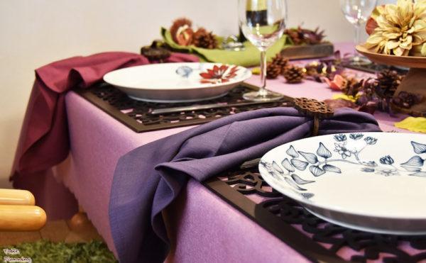 秋っぽいピンクと紫のナプキン