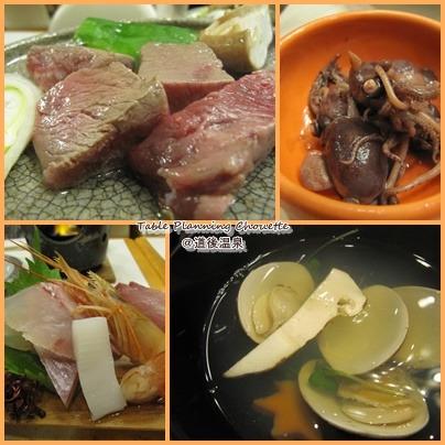 牛肉、お刺身、マツタケのお吸い物
