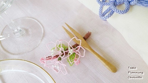 水引で作った桜の箸置き