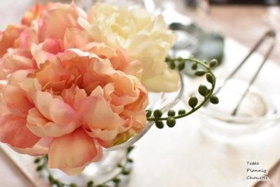 白&薄ピンクでコーディネート