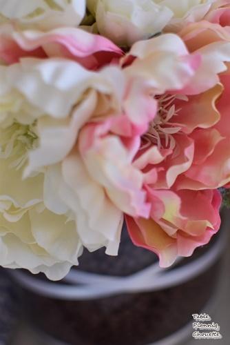 ピンクの花のコーディネート