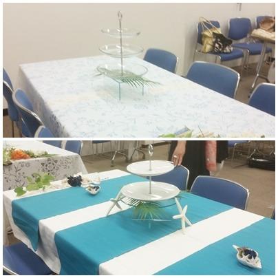大人たちがお茶をするテーブルを作るワークショップ